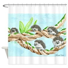 Daily Doodle 5 Climbing Hedgehogs Shower Curtain