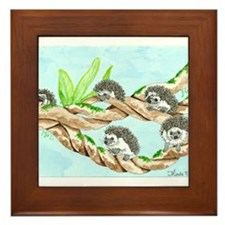 Daily Doodle 5 Climbing Hedgehogs Framed Tile