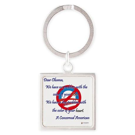 Obama's Heart Square Keychain