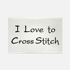 love to cross stitch Rectangle Magnet