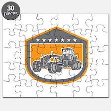 Road Grader Shield Retro Puzzle