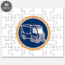 Street Cleaner Truck Circle Retro Puzzle