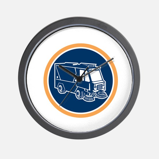 Street Cleaner Truck Circle Retro Wall Clock