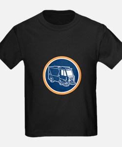 Street Cleaner Truck Circle Retro T-Shirt