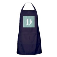 D Initial on Blue and White Apron (dark)
