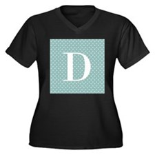 D Initial on Blue and White Plus Size T-Shirt
