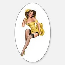 Yellow Lady Sticker (Oval)