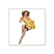 "Yellow Lady Square Sticker 3"" x 3"""
