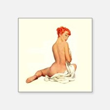 "Pin up Girl Redhead Square Sticker 3"" x 3"""