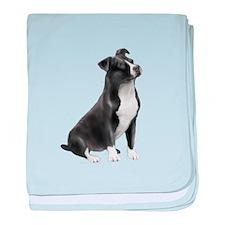 AmStaff (bw) baby blanket