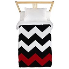 Black and Red Chevron Twin Duvet