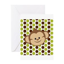 Monkey on Green and Brown Greeting Cards