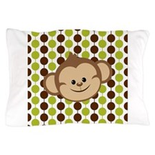 Monkey on Green and Brown Pillow Case