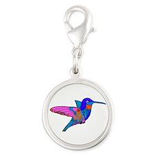 Hummingbird Love Silver Round Charm Charms