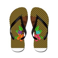 Tiki Head on Brown and Green Flip Flops