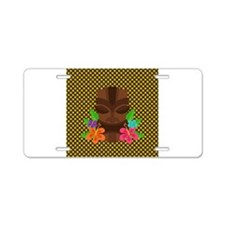 Tiki Head on Brown and Green Aluminum License Plat