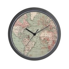 Vintage Map of The World (1918) Wall Clock