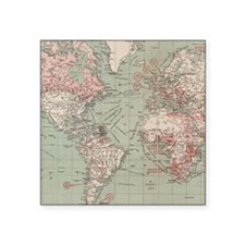 """Vintage Map of The World (1 Square Sticker 3"""" x 3"""""""