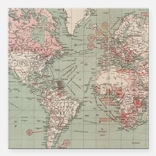 "Vintage Map of The World Square Car Magnet 3"" x 3"""