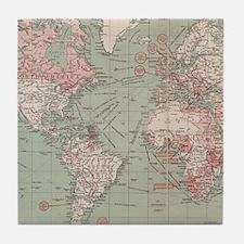 Vintage Map of The World (1918) Tile Coaster