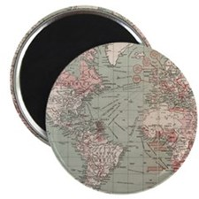 Vintage Map of The World (1918) Magnet