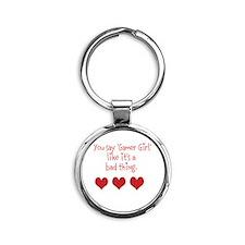 Gamer Girl Round Keychain