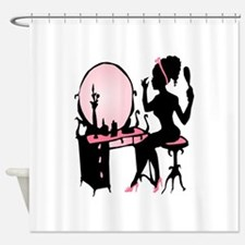 Girly Pink Woman Silhouette Shower Curtain