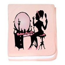 Girly Pink Woman Silhouette baby blanket