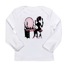 Girly Pink Woman Silhouette Long Sleeve T-Shirt