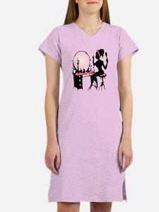 Girly Pink Woman Silhouette Women's Nightshirt