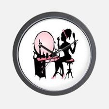 Girly Pink Woman Silhouette Wall Clock