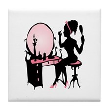 Girly Pink Woman Silhouette Tile Coaster