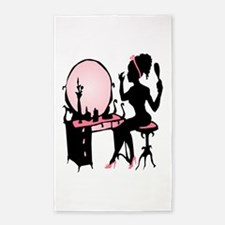 Girly Pink Woman Silhouette 3'x5' Area Rug