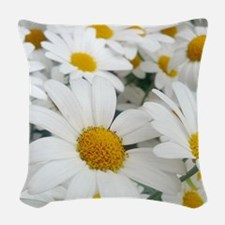 White Daisies Woven Throw Pillow