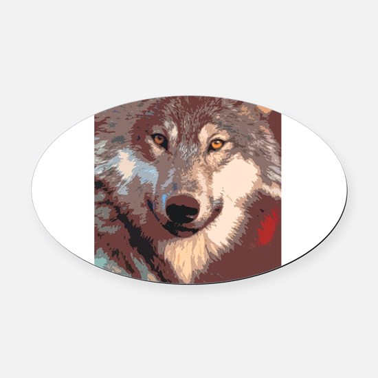Wolf 042 Oval Car Magnet