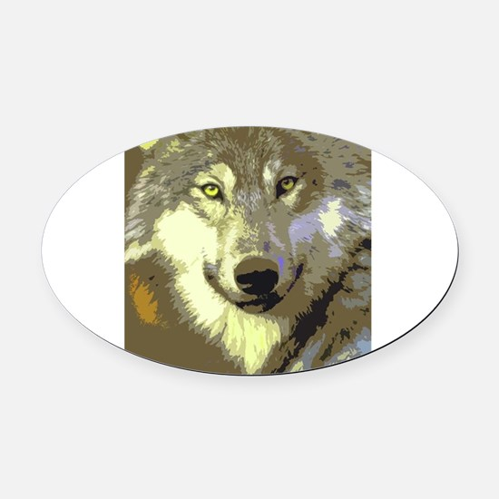 Wolf 045 Oval Car Magnet