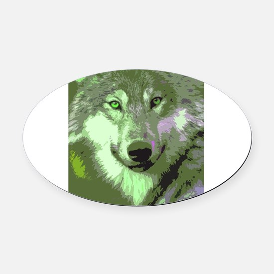Wolf 047 Oval Car Magnet