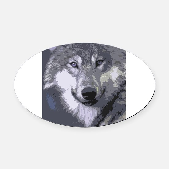 Wolf 051 Oval Car Magnet