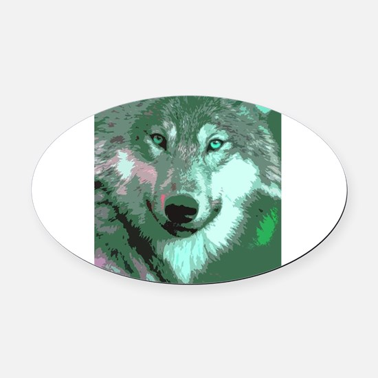 Wolf 048 Oval Car Magnet
