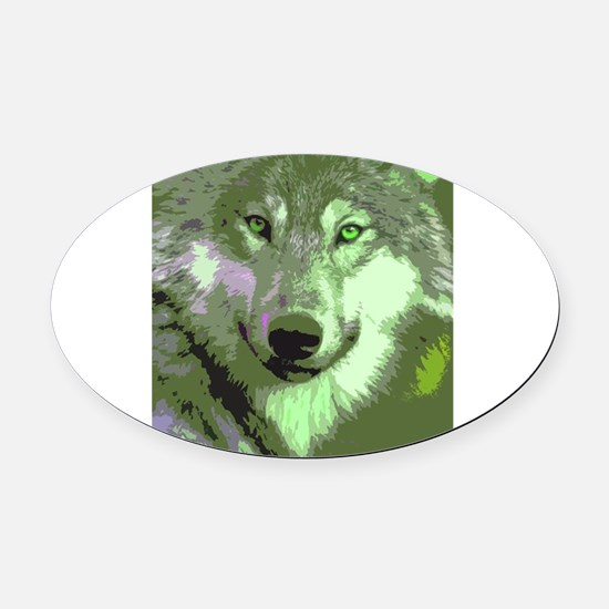 Wolf 046 Oval Car Magnet