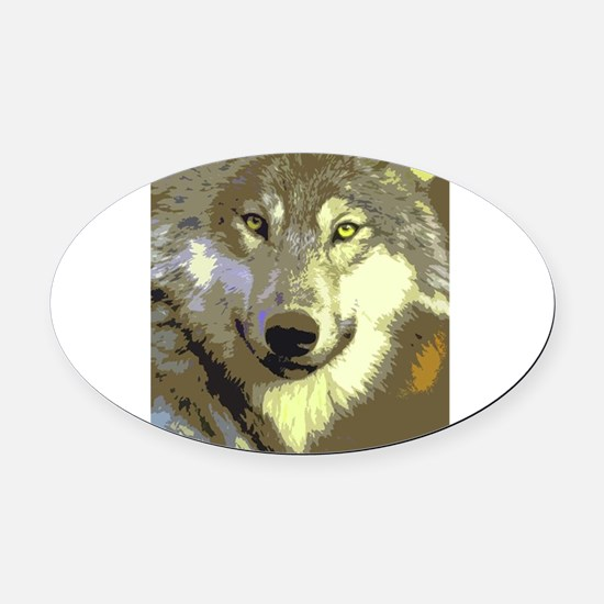 Wolf 044 Oval Car Magnet