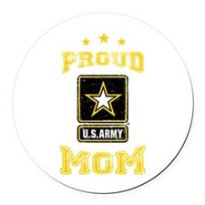 US Army proud Mom Round Car Magnet