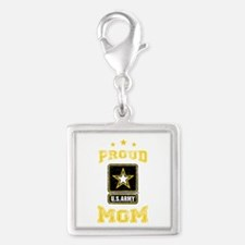 US Army proud Mom Silver Square Charm