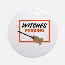 Witches Parking Ornament (Round)