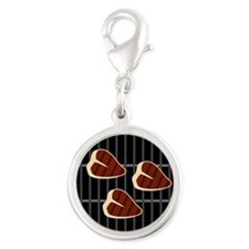 BBQ Grill Silver Round Charm