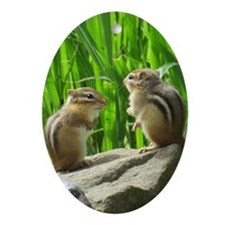 Two Chipmunks Ornament (Oval)