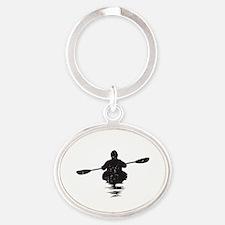 Kayaking Oval Keychain