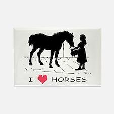Horse & Girl I Heart Horses Rectangle Magnet