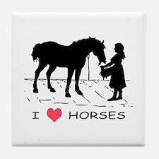 Horse & Girl I Heart Horses Tile Coaster