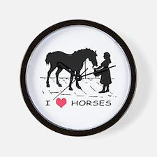 Horse & Girl I Heart Horses Wall Clock